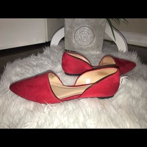 A new day Rebecca micro suede  red flats